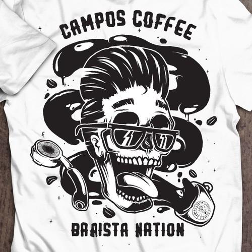 'Rockabilly' design entry for Campos Coffee