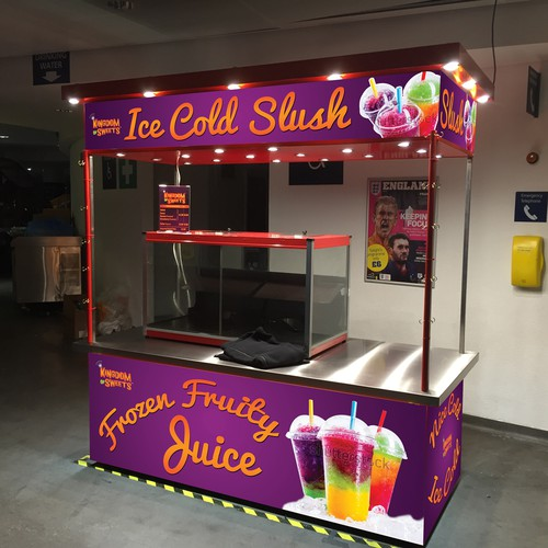 vinyl wrap design for frozen drink stand in stadium