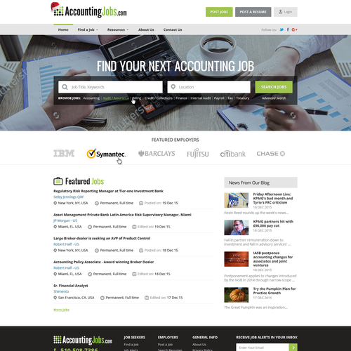 New homepage for AccountingJobs.com