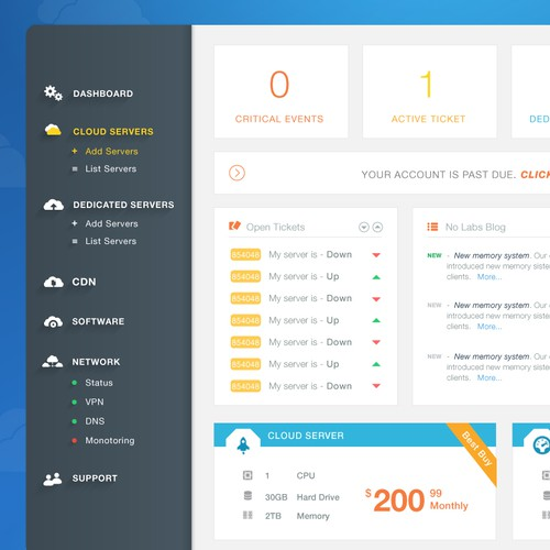 Control Panel for Cloud Hosting Provider