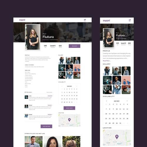 Profile page design for Zappzi