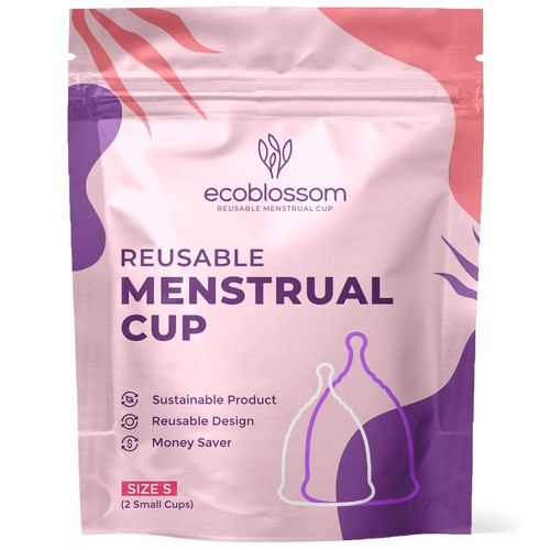 EcoBlossom Menstrual Cup - Modern Stand up pouch