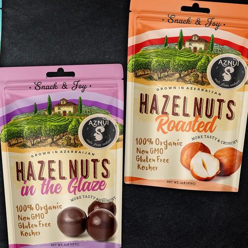AZNUT Nuts raw natural hazelnuts and roasted hazelnuts