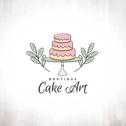 Hand-Drawn Cake Tiers on Stand Logo Design