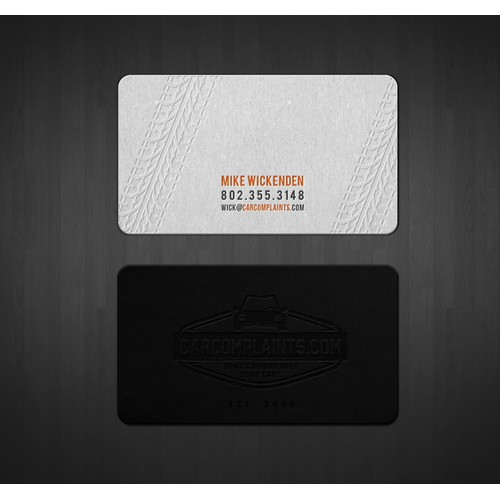 CarComplaints.com business card (stainless steel? letterpress?)