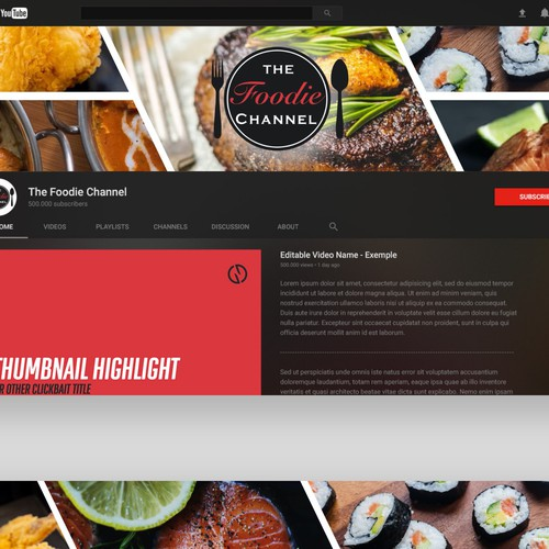 Youtube Cover Design - The Foodie Channel