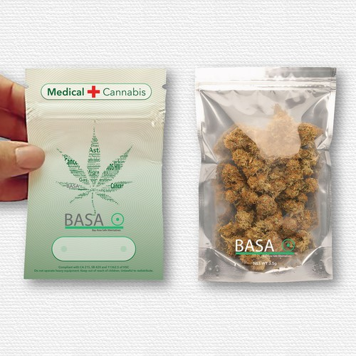 I Create a branded mylar bag for a cannabis delivery service.