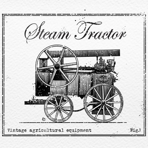 Steam tractor illustration