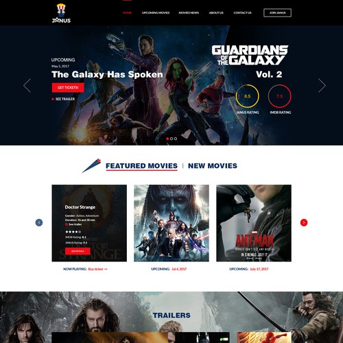 Homepage for a movie rating system website
