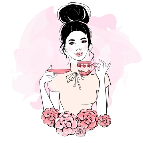 Facebook picture illustration of an stylish asian girl