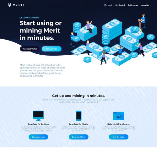 A creative home page for Merit cryptocurrency