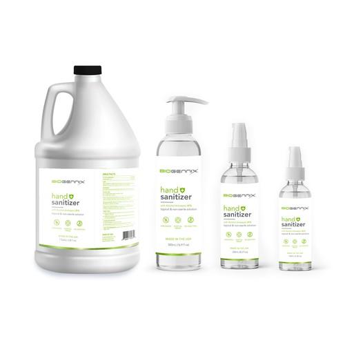 Unique Design labeling for medical hand sanitizer products