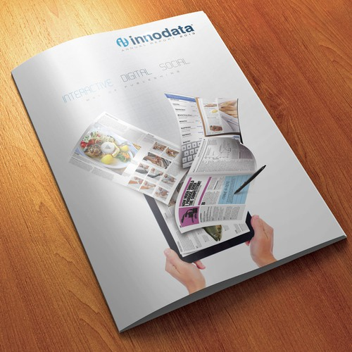 Clean, modern design for the cover of Innodata's new annual report