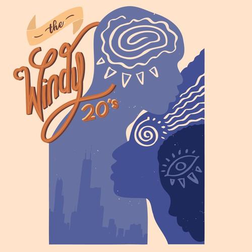 Symbolic podcast cover illustration