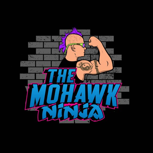 Ninja warrior mascot logo.