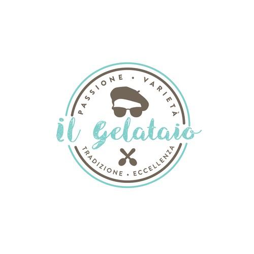Hipster logo for artisan gelato company