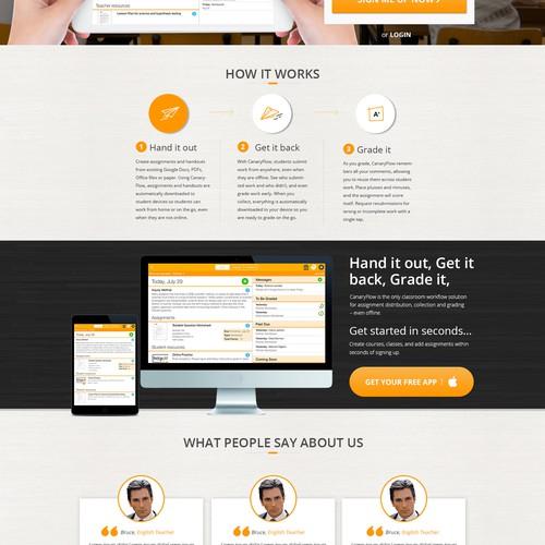 Landing page, Digital side kick for the classroom, teacher's tool