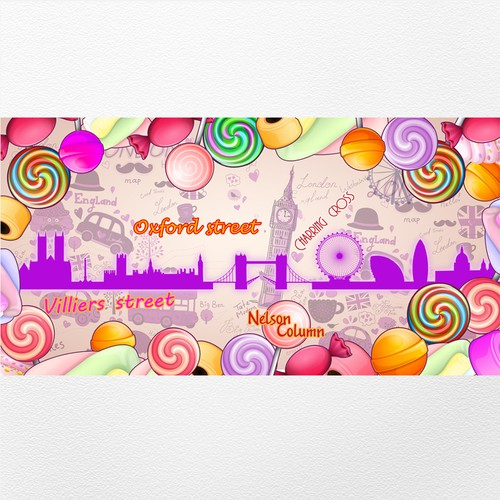 Funky, fun and vibrant illustration to be used on bespoke retail unit in central London location
