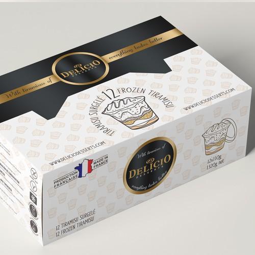 Dessert tiramisu cardboard package