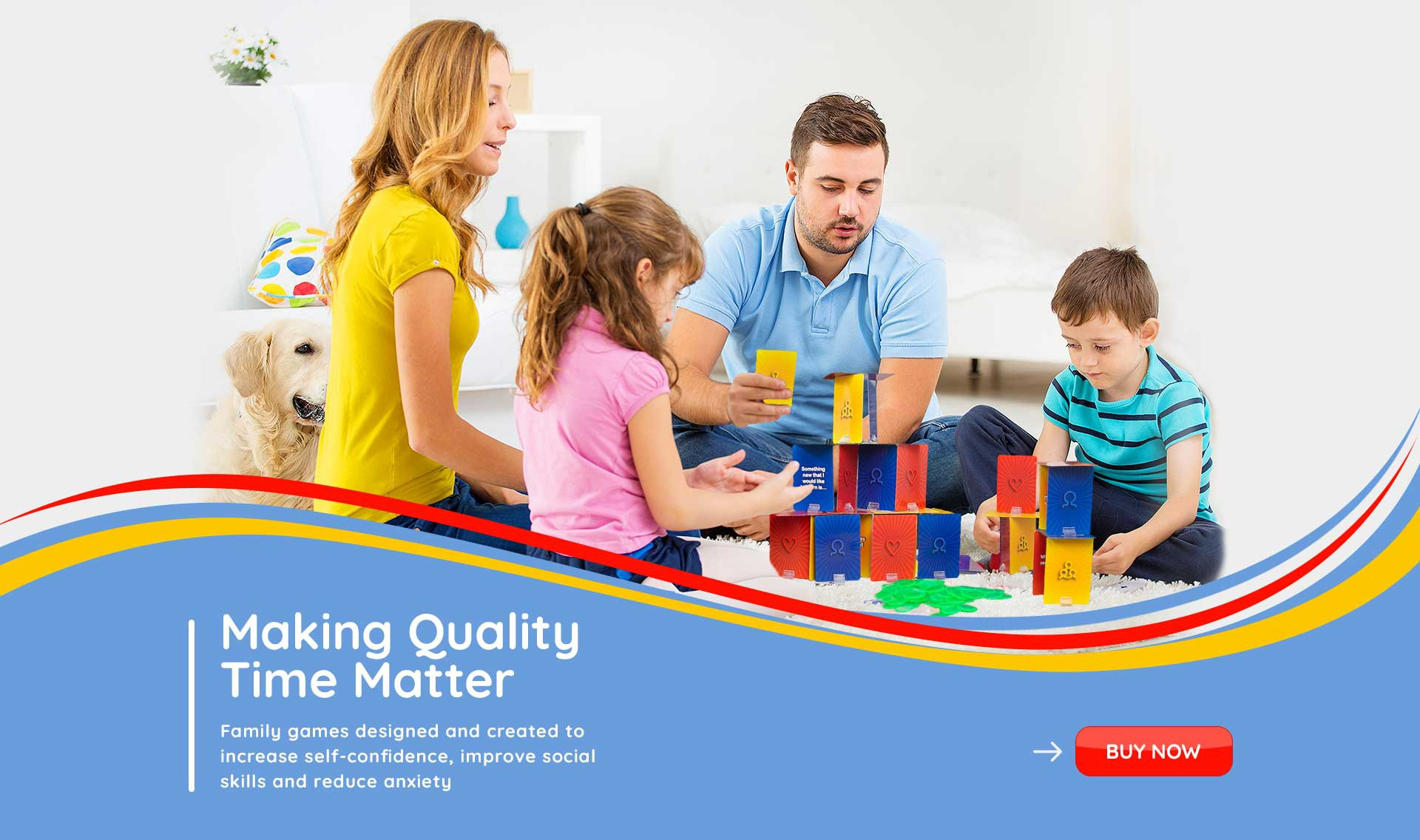 A spectacular header banner for a new site offering board games for family therapy