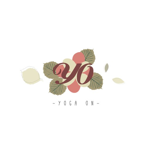 Vintage floral hot yoga studio logo