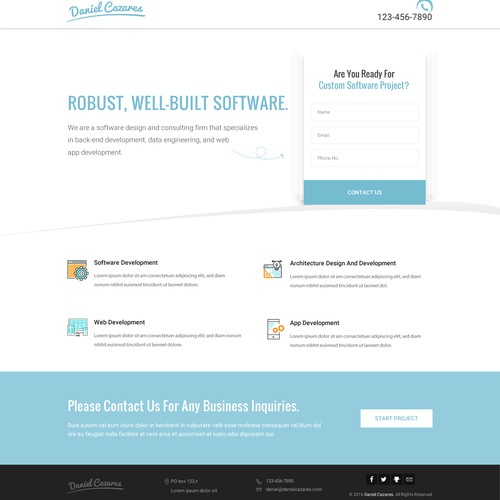 Software compnay landing page.