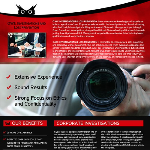 Flyer for O.W.E Investigations and Loss Prevention
