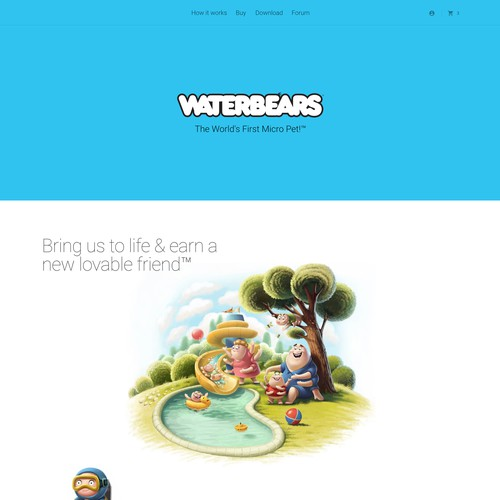 Product Landing Page for Waterbears