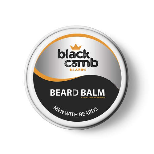 Beard balm label for Black Comb Beards brand. Simple, modern, and original.