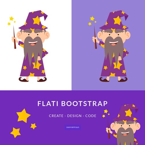 Design a flat Wizard Mascot for Hosting Company HostPresto!