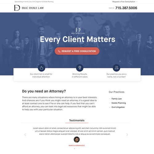 Landing page for Law Firm
