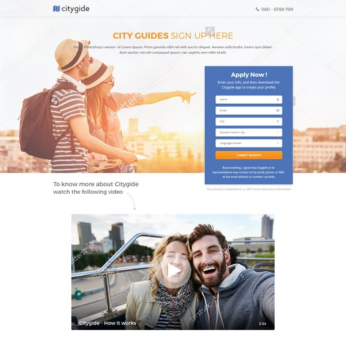 Landing page design for Citygide