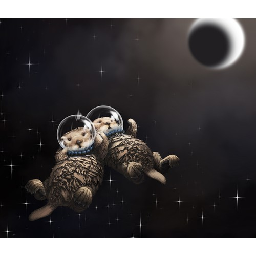 Illustrate two otters, holding hands, drifting into the inky blackness of space