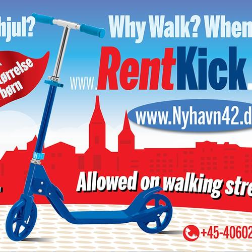 sign for kickbike rent out shop denmark