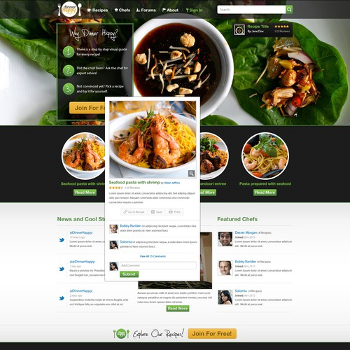 New website design wanted for Dinner Happy