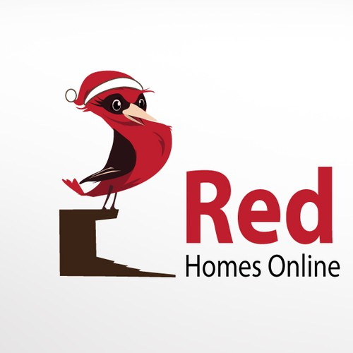 "Create ""Reggie"", a chirpy cartoon robin for Red Robin Homes"