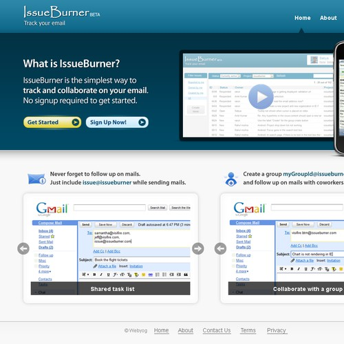 Home Page design for a Web 2.0 website