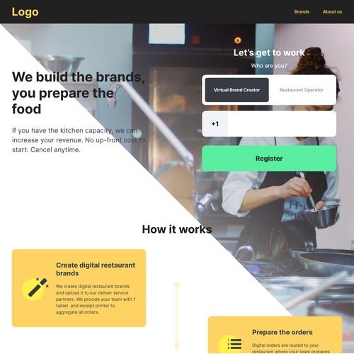 Landing page for Restaurant Branding