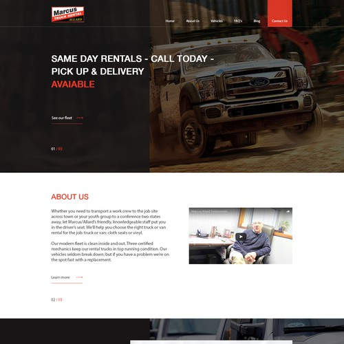 Main page for the transport company