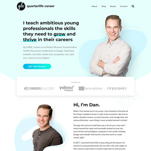 Logo + Website Design in Figma and Implemented in WordPress using Oxygen Builder for quarterlifecareer.com