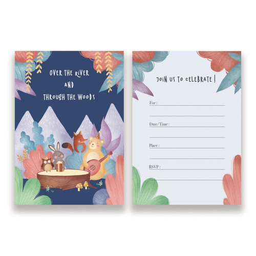 Birthday Party Invitations Entry with Kids Woodland Animal theme