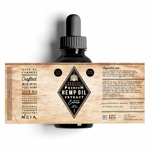 Premium Hemp Oil Extract Label Design