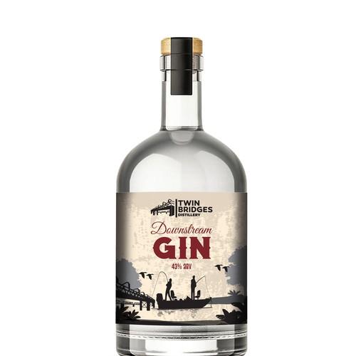 Gin bottle label design