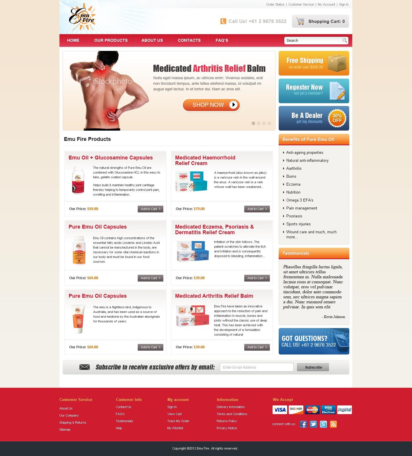 Help Re-Design Webshop for Emu Fire Pty Ltd - Pharmaceutical Online Store