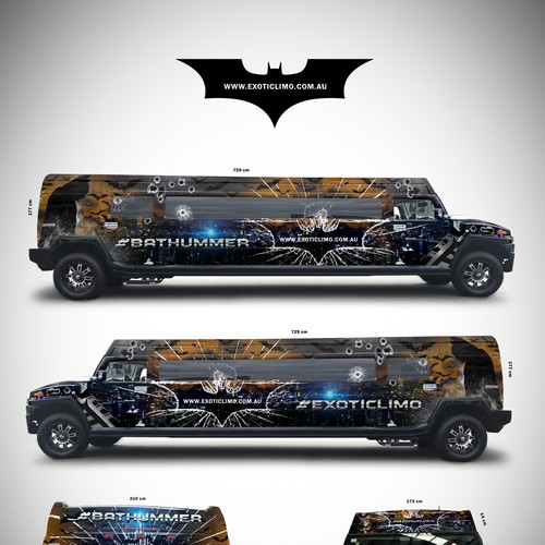 Batman Themed Limousine Wrap
