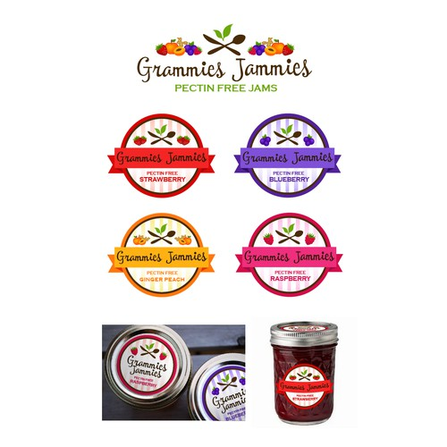 """Design a label with """"Grammies Jammies"""" capturing peoples attention that it is jam"""