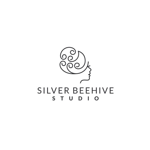 beehive hair style logo for a silver silver artisan