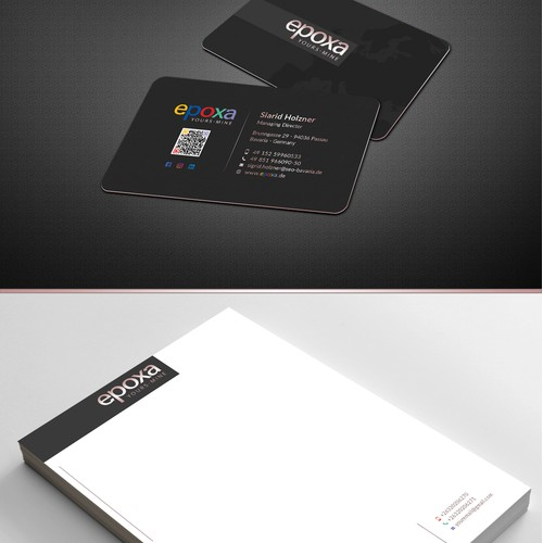 Business card design with letterhead