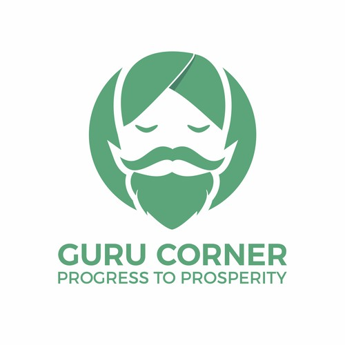 face logo of guru with simple flat style