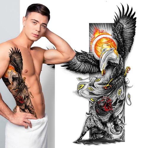 Pitbull and Rising Phoenix tattoo